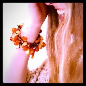 Gorgeous VTG Boho Bracelet with Amber stones OSFM
